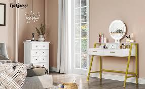 schminktisch led beleuchtung kosmetiktisch mit 2 schubladen frisiertisch spiegel schublade kommode make up tisch wohnzimmer schreibtish