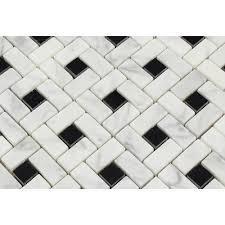 bianco carrara honed marble mini pinwheel mosaic tile w black