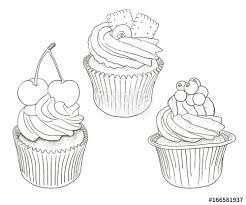 Hand drawn vector black and white outline cupcakes good for coloring