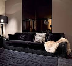 Four seater sofa Opera with a frame made of natural wood Fendi