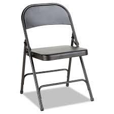 Steel Folding Chair With Two-Brace Support, Graphite, 4/Carton ... 2418usb A Shape Heavyduty Padded Folding Chair 2019 4 Fabric Black Soft Seat Compact Steel Amazoncom Flash Fniture Hercules Series White Wood Sudden Comfort Deluxe Buff Frame Vinyl Chairs Km Party Rental And Decor 4pack Triple Brace 300 Lb Capacity 3450fsnf Moreton Hire Samsonite 3000 Fan Back With Bonded