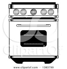 Clipart of a Black and White Vintage Kitchen Range Oven Royalty