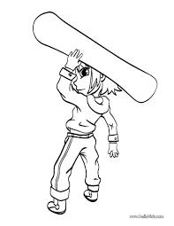 Boy With Snowboard Coloring Page