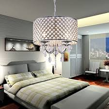 LightInTheBox Modern Drum Chandeliers With 4 Lights Pendant Light Crystal Drops In Round Ceiling Fixture For Dining RoomBedroom Living Room