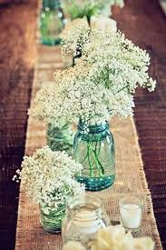 Long Wedding Table Mason Jar Centerpiece