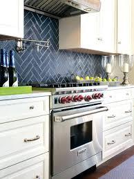 tiles blue subway tile backsplash kitchen black wooden cabinet