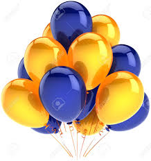 Happy birthday balloons party decoration multicolor yellow blue arranged in a bunch Holiday abstract