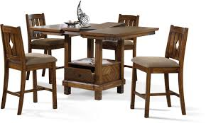 Perfect Rustic Counter Height Dining Table Set Room 5 Piece With Gray Cushion And Rectangular Storage