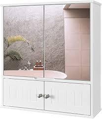 homecho spiegelschrank badschrank mit spiegel bad hängeschrank mit ablage schminkschrank aus holz badspiegelschrank wandschrank in weiß 60 x 54 5 x