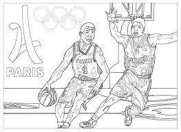 Coloring Page For The 2024 Paris Olympic Games Basketball