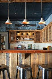 United States Barnwood Kitchen Cabinets With Industrial Bar Height Stools Rustic And Tin Ceiling Metal