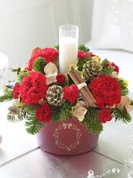 Dining Table Center Decorations With Christmas Flower Arrangements Pink Red Roses Plus White Candles And Centerpiece