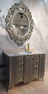 casa padrino barock badezimmer set silber gold creme 1 waschtisch mit marmorplatte und keramik waschbecken 1 wandspiegel prunkvolle barock