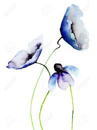 Watercolor Painting Beautiful Blue Flowers Stock Photo Simple PaintingsFlower WatercolorAbstract