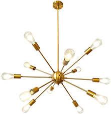 lynpon sputnik kronleuchter moderne 12 flammig pendelleuchte einstellbare höhe 4x9 85in messing gold hängele metall für wohnzimmer esszimmer