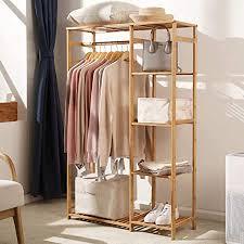 uyoyous kleiderständer garderobenständer kleiderstange bambus kleiner mit schuhablage ablage für schlafzimmer flur wohnzimmer mehrzweck 89x30x130cm