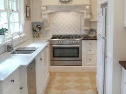 White French Country Galley Kitchen