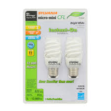shop sylvania 2 pack 60 w equivalent bright white a19 cfl light