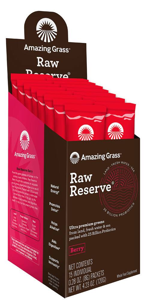Amazing Grass Raw Reserve Green Superfood Powder - Berry, Box of 15