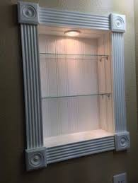 how to replace medicine cabinet with open shelves home