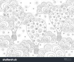 Vector Anti Stress Coloring Book Page For Adult With Air Balloons And Clouds