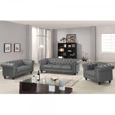 canapé chesterfield cuir gris canapé chesterfield gris capitonné en simili cuir 3 places