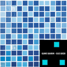 Glow In The Dark Mosaic Pool Tiles by Fireglass 106 107 800 Blue Blend 1