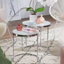 glastisch beistelltisch rund weiss modern lille 50cm chrom