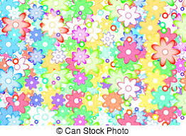 Cute Spring Flowers Abstract Cartoon Art Simple Color Background