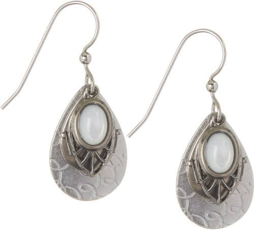 Silver Forest White Teardrop Layered Earrings