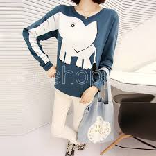 Q623 Korean Ladies Womens Fashion O Neck Pullover Loose Knitwear Long Sleeve Jumper Cartoon Elephant Hooded