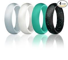 Silicone Wedding Ring For Women By ROQ Set of 4 Silicone Rubber
