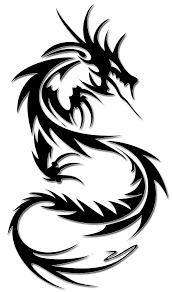 Awesome Black Tribal Dragon Tattoo Design