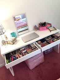 Micke Desk With Integrated Storage White Pink by Makeup Girls Heaven Dream Collection Makeup Addict Ikea Micke