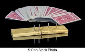 Game Board Of Cribbage With Deck Cards