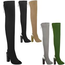 womens ladies thigh high boots knit stretch over the knee celeb