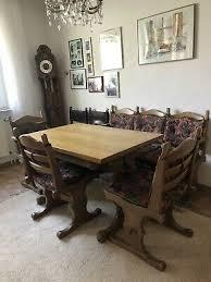 sitzgruppe sitzgarnitur runder tisch 6 stühle antik