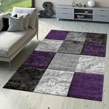 designer teppich valencia modern mit marmor optik kariert meliert lila grau weiß