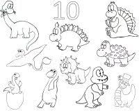 Toddler Activities 10 Dinosaurs Coloring Page Dinosaur Numbers Book