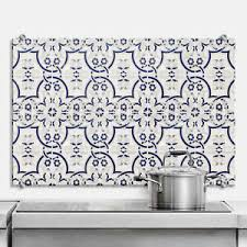 details zu glas spritzschutz kacheln 03 blau küchenrückwand 4mm esg sicherheitsglas