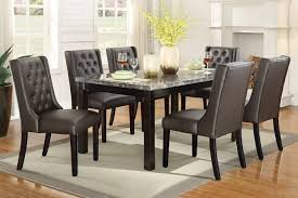 Poundex F2295 1501 7 Pc Marleen Collection Dark Brown Finish Wood Marble Top Dining Table Set With Faux Leather Padded Seats