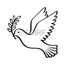 Flying dove holding an olive branch as a sign of peace line art vector icon for