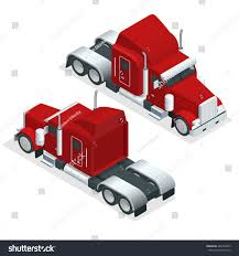 Isometric American Show Truck Tractor Transporting Stock ...