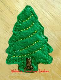 Christmas Tree Feltie Machine Embroidery Design Instant Download