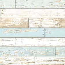 Rustic Wooden Plank Wallpaper Natural White Teal