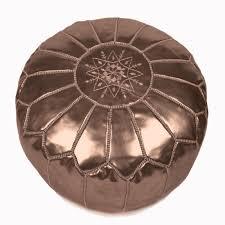 pouf marocain en cuir bronze pouf design baboucheshop