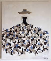tableau moderne femme robe coloree sur toile format 55x46