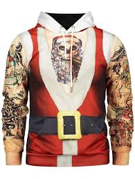 father christmas costume tattoo pattern long sleeve hoodie red
