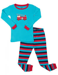 Leveret Boys Fire Truck 2 Piece Cotton Pajama Set