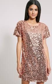 hilma rose gold sequin shift dress dresses prettylittlething